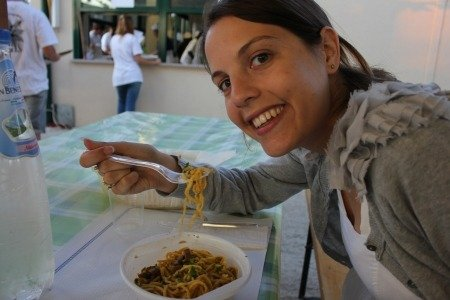 Me enjoying lunghino con le lumache at last Sunday's festival!
